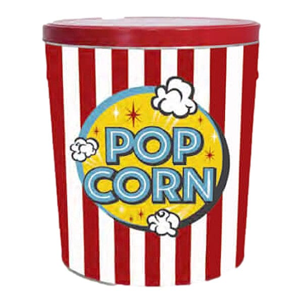 Large tin of popcorn with 3 flavors-approx 60 cups