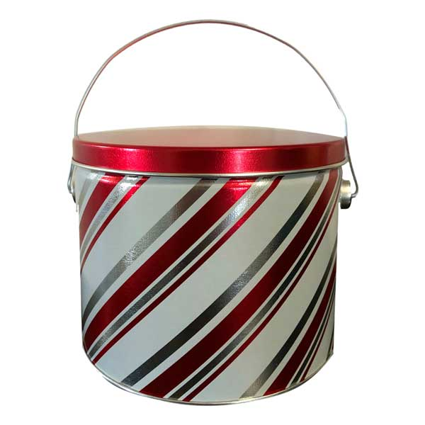 Candy Stripe Popcorn Pail filled with your choice of popcorn flavor.