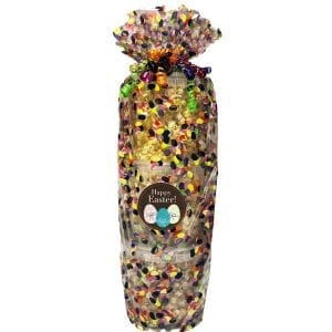 Easter Popcorn Tower-three tier tower. 10 cups per tier. Movie Theater, Caramel and White Cheddar. Wrapped in cellophane and topped with a bow.