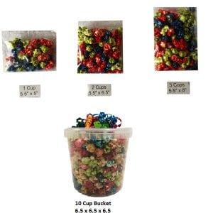 1, 2, 3, 10 Cups Popcorn, Cello Bag or Bucket