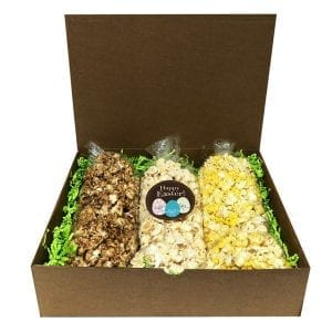 Easter Popcorn Trio-filled with your choice of flavors, 10 cups per bag. Arranged and shipped in a gift box.