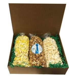 Father's Day Popcorn Trio-filled with your choice of flavors, 10 cups per bag. Arranged and shipped in a gift box.