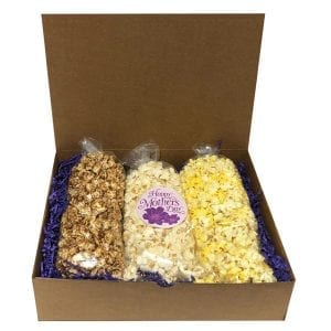 Mother's Day Popcorn Trio-filled with your choice of flavors, 10 cups per bag. Arranged and shipped in a gift box.