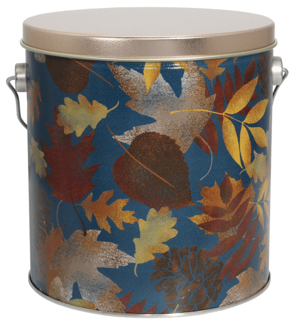 Falling Leaves Popcorn Pail filled with your favorite popcorn flavor