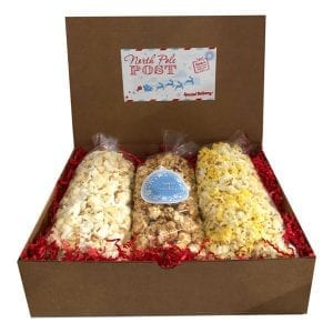 Christmas Popcorn Trio with 10 cups each Caramel corn, Movie Theater and White Cheddar in a gift box